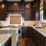 Dark wood cabinet kitchen with granite countertop