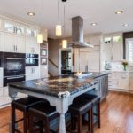 White cabinet kitchen with granite island