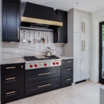 Black Stove top with two tone stove hood
