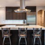Modern kitchen with large white island