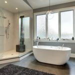 Bathroom with large walk-in shower and soaking tub